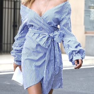 Dresses & Skirts - Blue Striped Off the Shoulder Wrap Bow Dress NEW
